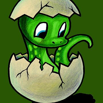 Baby Green Dinosaur by IceFaerie