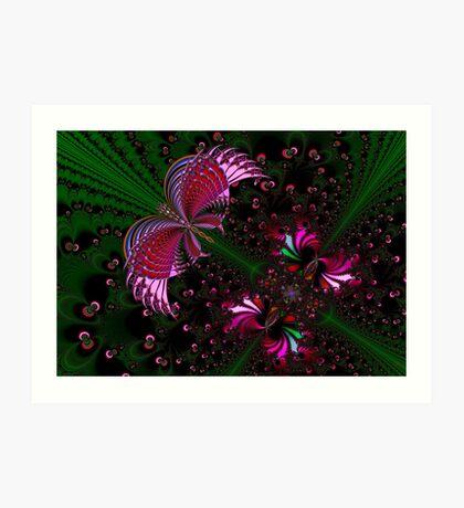 Fractal Red Butterfly Art Print