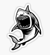 Angry Great White Shark Mouth Open Logo Sticker