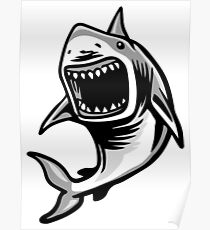 Angry Great White Shark Mouth Open Logo Poster