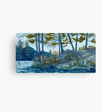 Blue Algonquin Rocks Landscape Canvas Print