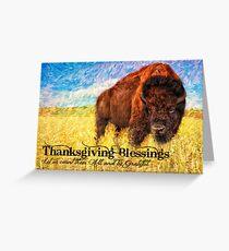 American Bison Buffalo Painting Thanksgiving Greeting Card