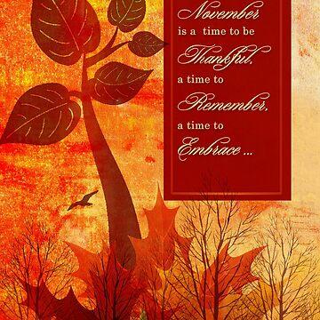 Gratitude Autumn Foliage and Trees by SalonOfArt