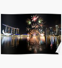 Fireworks over Marina Bay in Singapore Poster