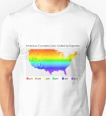 Map of American Counties Color-Coded by Gayness T-Shirt