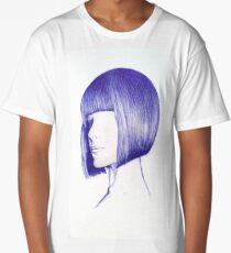 Artistic face with blue pen Long T-Shirt