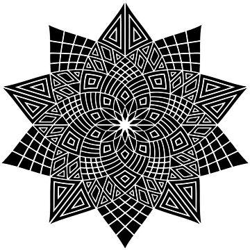 Black Flower Mandala by JuanBuel
