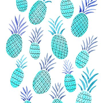 Watercolor Pineapples in Blue by latheandquill