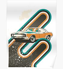 Retro Race Car Poster