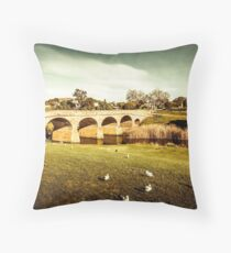 Old colonial style bridge Throw Pillow