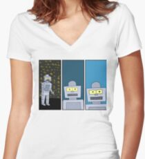 Robot Emotions Women's Fitted V-Neck T-Shirt