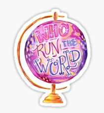 Who Run The World - Vintage Globe - Hand Lettered Feminist Quote Sticker