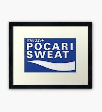 POCARI SWEAT on blue background Framed Print