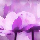 Abstract Painting Anemone Flower Purple by artsandsoul