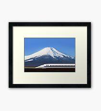 Mount Fuji and Tokaido Shinkansen, Shizuoka, Japan Framed Print