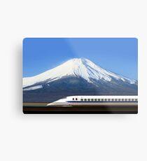 Mount Fuji and Tokaido Shinkansen, Shizuoka, Japan Metal Print