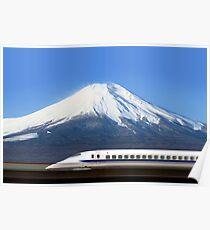 Mount Fuji and Tokaido Shinkansen, Shizuoka, Japan Poster