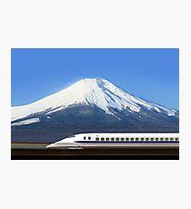 Mount Fuji and Tokaido Shinkansen, Shizuoka, Japan Photographic Print