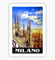 Milan Cathedral, Milano, Italy, vintage travel poster Sticker