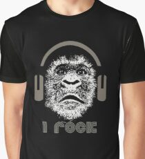 Gorilla Wearing Headphones With Disco Text i rock Graphic T-Shirt
