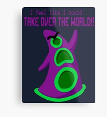 Purple Tentacle- With Text Metal Print