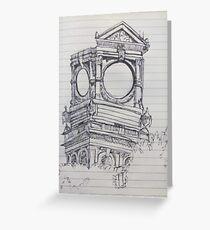 Empty clocktower drawing Greeting Card