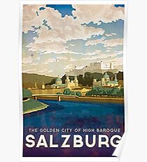 Salzburg, Austria, golden city, baroque, vintage travel poster Poster