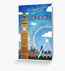 London, Big Ben, Ferris wheel, vintage travel poster Greeting Card