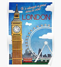 London, Big Ben, Ferris wheel, vintage travel poster Poster