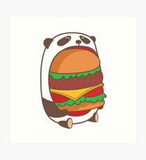 Hungry kawaii panda. Art Print