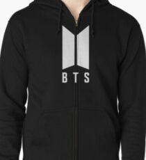 BTS new logo white Zipped Hoodie