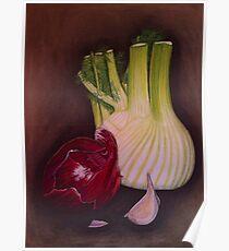 Onion, fennel and garlic still life Poster
