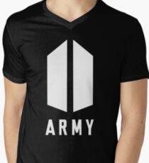 Army Wihte Men's V-Neck T-Shirt