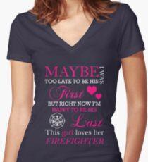 THIS GIRL LOVES HER FIREFIGHTER Women's Fitted V-Neck T-Shirt