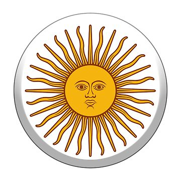 Sol de Mayo, ARGENTINA SUN, Argentinia, Argentinian, white button, on WHITE by TOMSREDBUBBLE