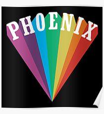 Phoenix Rainbow Black Poster