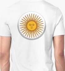 Sol de Mayo, ARGENTINA SUN, Argentinia, Argentinian, white button, on WHITE T-Shirt