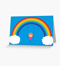 Rainbow Swing Girl Greeting Card