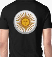 Sol de Mayo, ARGENTINA SUN, Argentinia, Argentinian, white button, on BLACK T-Shirt