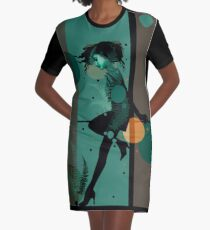The Girl and the Moon Graphic T-Shirt Dress