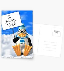 I Miss You Penguin Card Postcards