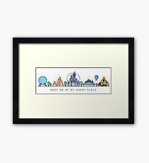 Meet me at my Happy Place Vector Orlando Theme Park Illustration Design Framed Print