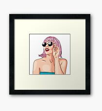 Girl wearing pink wig Framed Print