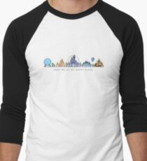 Meet me at my Happy Place Vector Orlando Theme Park Illustration Design Men's Baseball ¾ T-Shirt