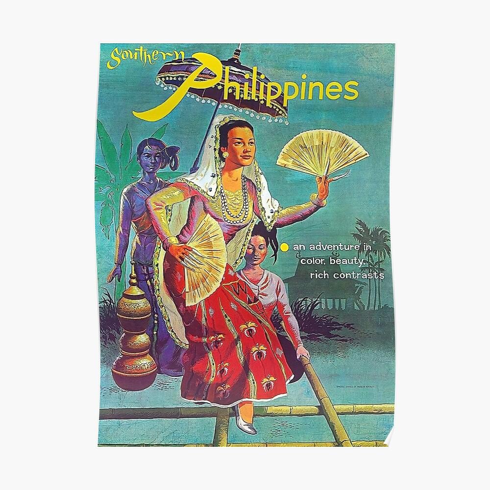 Philippinen, Frau, Weinlesereiseplakat Poster