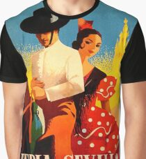 Seville, Spain, couple on horse, traditional, vintage, travel poster Graphic T-Shirt