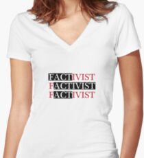 Fact Activist Act Women's Fitted V-Neck T-Shirt
