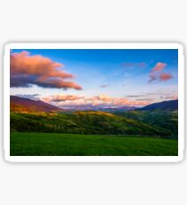 countryside landscape in mountains at sunset Sticker