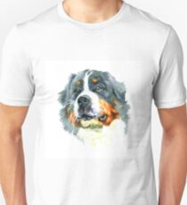 Watercolor closeup portrait of large Moscow Watchdog breed dog isolated on white background. Unisex T-Shirt