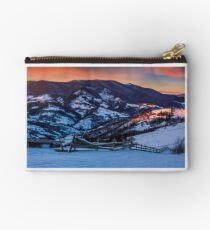 epic red sunrise in Carpathian countryside Studio Pouch